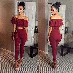 b77ad8c6cde Sexy Off Shoulder 2 Piece Set Long Jumpsuit Slim Ruffles Bodycon Femme Overalls  Playsuit Romper Women Jumpsuit