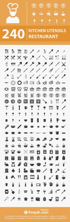 If you're right in the middle of a design project that involves cooking - in any shape or form - this icon set is perfect for you. There are 240 icons, d - posted under Icons tagged with: AI, EPS, Food, Free, Graphic Design, Icon, Kitchen, Resource, Restaurant, SVG, Vector by Fribly Editorial