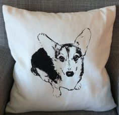 Custom dog corgie pillow  20 in. x 20 in. 100% Cotton (cover) Down Feather (pillow)   Made in the U.S.A.   Dry Clean Only