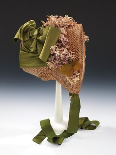 American straw and silk poke bonnet ca. 1865