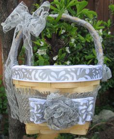 Burlap Flower Girl Basket White and Gray by BridalSprinkles, $39.00