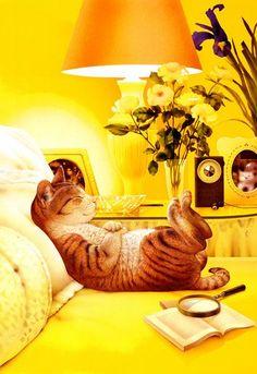 chasingthegreenfaerie:  (via (124) Makoto Muramatsu's Cats   Yellow   Pinterest)