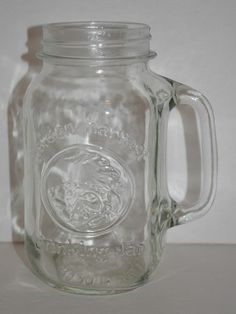 Vintage Tall 28oz. Golden Harvest Glass Drinking Mason Jar With Handle #8 ***SOLD***