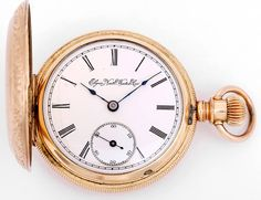 Elgin Gold-Filled Pocket Watch 18 size Grade 102 Model 2 circa 1894 | From a unique collection of vintage pocket watches at https://www.1stdibs.com/jewelry/watches/pocket-watches/