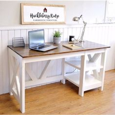 DIY Farmhouse Desk plans that will make your home office pop! Need an office farmhouse desk to spice up the home office? These Farmhouse Desk Plans will make your home office come to life. Woodworking Projects Diy, Diy Wood Projects, Furniture Projects, Furniture Plans, Home Projects, Diy Furniture, Woodworking Plans, Office Furniture, Popular Woodworking