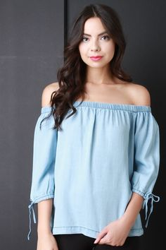 Off The Shoulder Tied Sleeve Top – Style Lavish