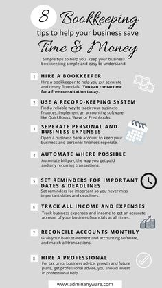 8 Bookkeeping Tips To Help Your Business Save Time and Money Online Bookkeeping, Small Business Bookkeeping, Small Business Plan, Small Business Accounting, Bookkeeping Services, Business Marketing, Bookkeeping And Accounting, Small Business Solutions, Financial Accounting