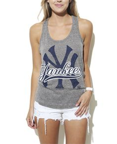 NY Yankees Triblend Tank from Wet Seal Yankees Outfit, Ny Style, Sporty Style, New York Yankees, Wet Seal, Everyday Fashion, Baseball Kids, Athletic Tank Tops, Women Wear