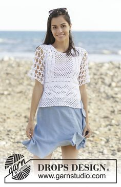 Summer Lace - free crochet top pattern and charts by DROPS design. S-XXXL. Lace Patterns, Knitting Patterns Free, Free Knitting, Free Crochet, Knit Crochet, Crochet Patterns, Finger Knitting, Scarf Patterns, Knitting Tutorials