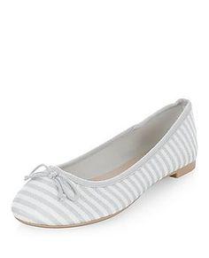 Grey Canvas Stripe Ballet Pumps  | New Look