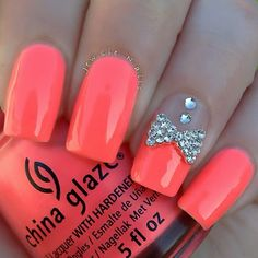 Loving this color. Pretty coral polish nail art design