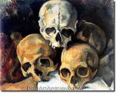 Top 15 Most Famous Paintings by Paul Cézanne. Paul Cezanne was one of the main artists of Post Impressionism. He used planes of shading and small brushstrokes that development to shape complex fields. Cezanne Art, Paul Cezanne Paintings, Cezanne Still Life, Skull Painting, Diy Painting, Oil Painting Reproductions, Skull Art, Art World, Monet