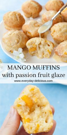 Mango Muffins with Passion Fruit Glaze Recipe. Moist and fluffy mango muffins wi. - Mango Muffins with Passion Fruit Glaze Recipe. Moist and fluffy mango muffins with exotic-tasting p - Best Breakfast Recipes, Best Dessert Recipes, Cupcake Recipes, Baking Recipes, Sweet Recipes, Juice Recipes, Muffin Recipes, Detox Recipes, Salad Recipes
