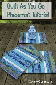 Batik Quilt As You Go Placemats Tutorial is fast and easy! You will be able to create placemats in no time at all. QAYG place-mats in batik are beautiful in the kitchen and dining room. Quilting Tutorials, Quilting Projects, Sewing Tutorials, Tutorial Sewing, Quilting Ideas, Small Quilt Projects, Patchwork Tutorial, Quilting Patterns, Table Runner And Placemats
