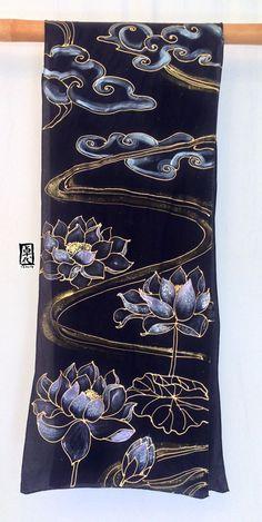 Black Silk Scarf Handpainted Black and Gold by SilkScarvesTakuyo