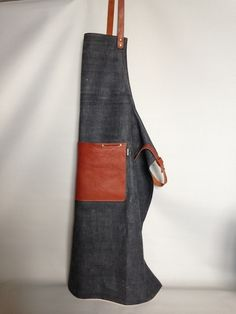 Selvedge Denim and leather apron - handmade apron