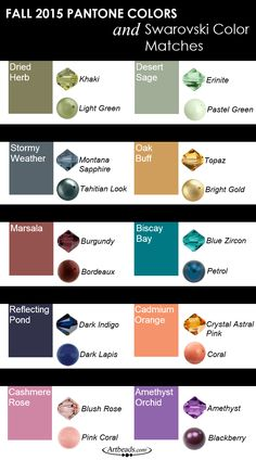 The Pantone Fall 2015 Fashion Color Report is out and we have Swarovski color matches to go along with each color! #pantone2015 #colorreport