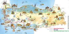 Turkey Attractions Map Within Antalya Tourist Travel Icon, Travel Maps, Travel Usa, Turkey Tourist Attractions, Tourist Map, Art Nouveau, Travel Quotes Tumblr, Turkey Travel, Travel Scrapbook