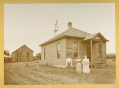 1880 Family in front of small farm house and barn. Albumen Ithaca NY