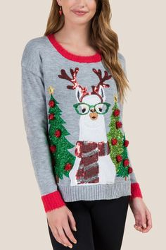Fuzzy Llama Light Up Sweater teen teenage fashion style vacation beach college summer + spring womens outfits casual romper first day school fall + winter sweater christmas holiday Disclosure: Please Llama Christmas, Ugly Christmas Sweater, Tacky Christmas, Christmas Jumpers, Christmas 2017, Christmas Shirts, Christmas Holidays, Night Outfits, Casual Outfits