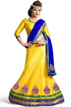 Ashika designer Yellow color with nett, satin emboss, nett, satin emboss fabric Lehenga choli Lehenga Style, Net Lehenga, Lehenga Choli Online, Sarees Online, Choli Dress, Ghagra Choli, Bridal Lehenga Choli, Indian Dresses, Indian Outfits