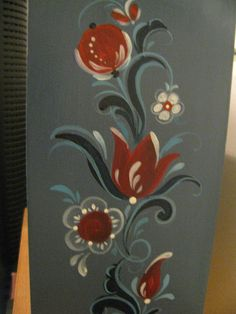 Side of mini drawers in Rogaland Rosemaling