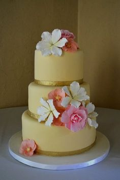 Wedding Cake with Tropical Fondant Flowers  Cake by The SweetBerry