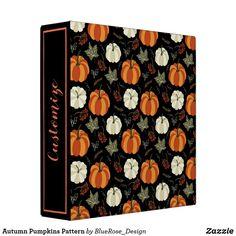 Autumn Pumpkins Pattern 3 Ring Binder Binder Inserts, 3 Ring Binders, Binder Design, Custom Binders, Photo Quality, Fall Pumpkins, Scrapbooks, Unique Weddings, Scrapbook