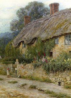 A Mother and Child Entering a Cottage, watercolor by Helen Allingham, 1848-1926, British watercolor painter and illustrator known for her paintings of English cottages during the Victorian era.   She illustrated two notable books, The Homes of Tennyson by Arthur Henry Patterson and Happy England by Marcus B. Huish.