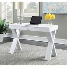 Modernize your home office with this striking wood desk from Convenience Concepts.