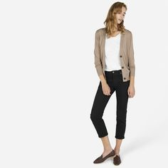 A good layered option. I would do a longer pant, either skinny or straight leg. Possible for Cecily.