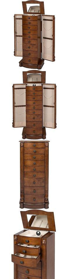 Jewelry Boxes 3820 Tall Jewelry Armoire And Mirror Chest Locking