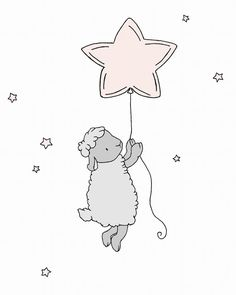 Lamb Nursery Art  Lamb Star Balloon  Pink by SweetMelodyDesigns, $10.00