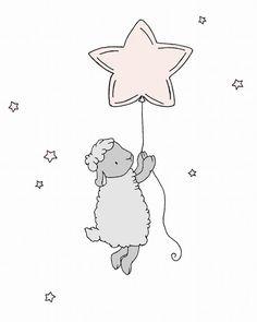 Lamb Nursery Art Lamb Star Balloon Pink by SweetMelodyDesigns, $10.00