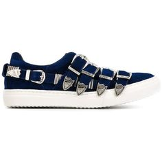 Toga Pulla Buckled Slip-on Sneakers (1 775 SEK) ❤ liked on Polyvore featuring shoes, sneakers, blue, slip-on shoes, leather slip-on shoes, real leather shoes, slip on trainers en blue leather sneakers