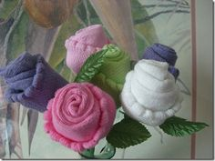 Baby Washcloth Craft Ideas | Baby Sock Roses | We teach crafts