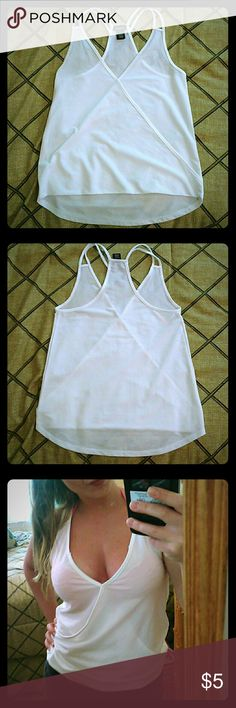 Sheer White blouse * Strappy see through V neck blouse Rue 21 Tops Blouses