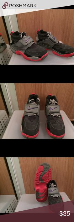 Nike air diamond turf 6 youth Purple red and grey Nike shoes 6y which is an 8 in ladies Nike Shoes Sneakers