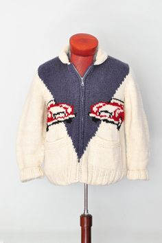 Mary Maxim Sweater Sport's Car New Wool Cardigan, Cowichan Sweater, Curling Sweater on Etsy, $139.00