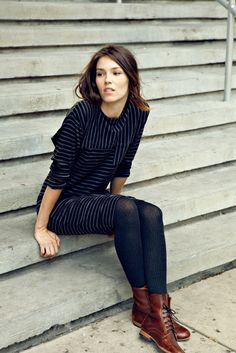 Brown short boots, striped cotton dress. Fall/winter collection 2016.