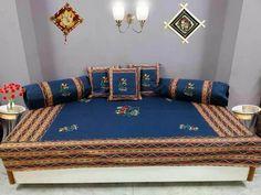 Divan101 1 diwan set cotton embroidery patchwork divan for Divan bed sheet