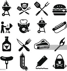Barbecue Icons - Black Series - Illustration from Popicon Barbecue, Desenhos Old School, Logo Restaurant, Black Series, Free Illustrations, Free Vector Art, Icon Set, Stencils, Grilling
