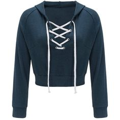 Lace Up Long Sleeve Crop Pullover Hoodie (43 BRL) ❤ liked on Polyvore featuring tops, hoodies, lace up hoodie, cropped hoodie, cropped hooded sweatshirt, cropped pullover hoodie and pullover hoodie