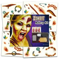 Zombie Temporary Tattoos Party Supplies Pack 6 Sheets -- Over 60 Wound Tattoos Halloween Party Supplies, Halloween Party Costumes, Halloween Party Decor, Zombie Makeup, Makeup Kit, Stencil Painting, Body Painting, Temporary Tattoo Ink, Henna Stencils