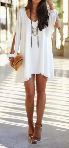 Hot white mini dress for date night brown purse short summer apparel fashion…