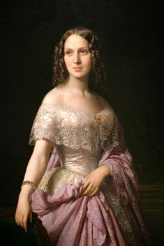 More smooth, center parted 1850s hair: Elizabeth Wethered Barringer, Don Federico de Madrazo y Kuntz, 1852.