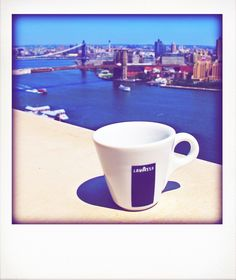 Lavazza espresso and an amazing view #HappyMonday #BrooklynBridge