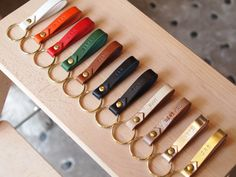 Personalized Leather Keychain,with the ring and the studs made of the solid brass
