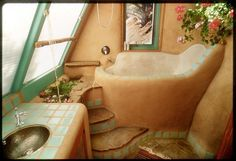 Love the idea of making a custom deep-tub out of cob, built into the house. I love how you can pretty much make any appliances and furniture that you want out of cob. Talk about saving $$ and still getting what you want