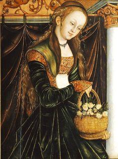 1530 Lucas Cranach (Northern Renaissance Painter, 1472-1553) and his workshop Die Heilige Dorothea - c. 1530